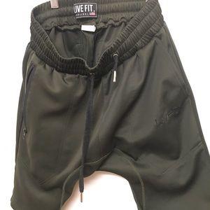 Military green tech shorts